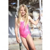 Mädchenbadeanzug in Pink glitzer Metallic